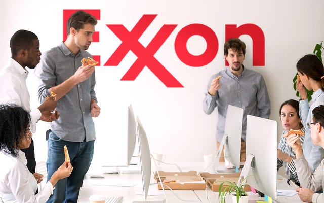 Le personnel d'Exxon remporte une soirée pizza à l'échelle de l'entreprise après que les niveaux de gaz à effet de serre ont atteint un nouveau sommet