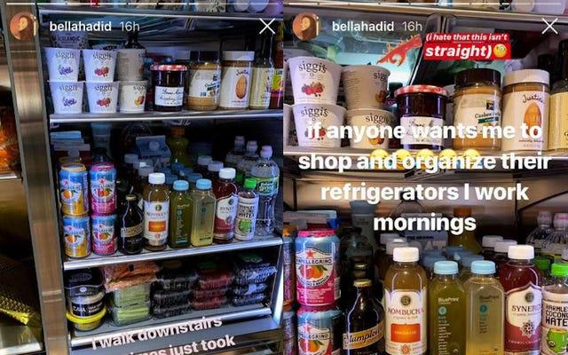 ベラ・ハディッドの邪魔なほど完璧な冷蔵庫について私たちが持っているすべての批判