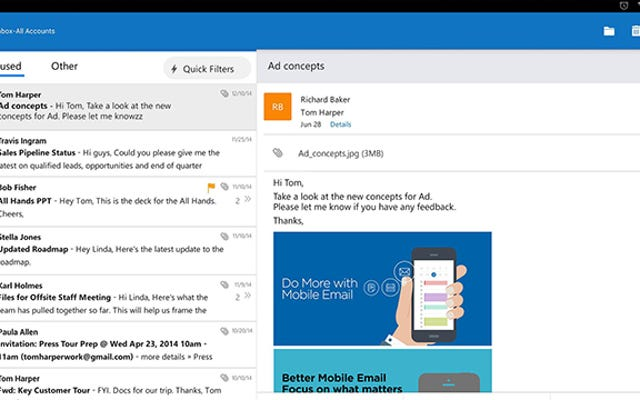 Outlook đi kèm với Android và iOS, Office cho Android Leaves Preview