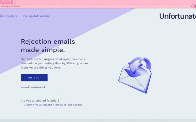 このサイトはAIによって生成された拒否メールを吐き出すので、失望をコピーして貼り付けることができます