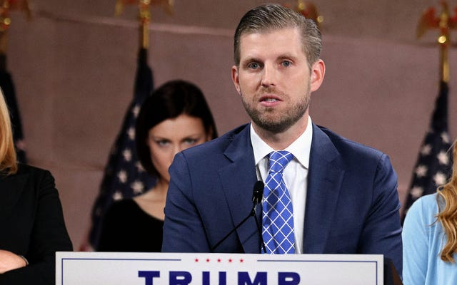 'Oh Dios, Oh Dios, Oh Dios', dice Eric Trump después de traer accidentalmente a las víctimas de agresión sexual de su padre a RNC