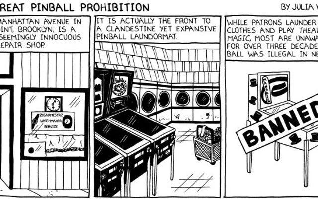 Ein kurzer Comic über die Zeit, in der New York Flipper verboten hat