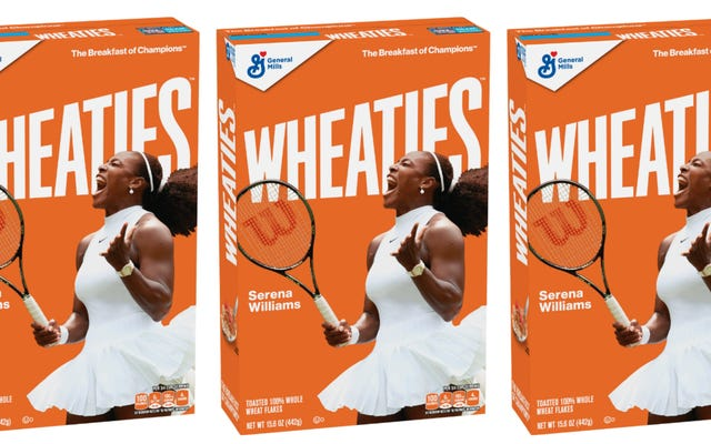 चैंपियंस का नाश्ता: सेरेना विलियम्स ने अपनी पहली गेहूं बॉक्स को स्कोर किया!