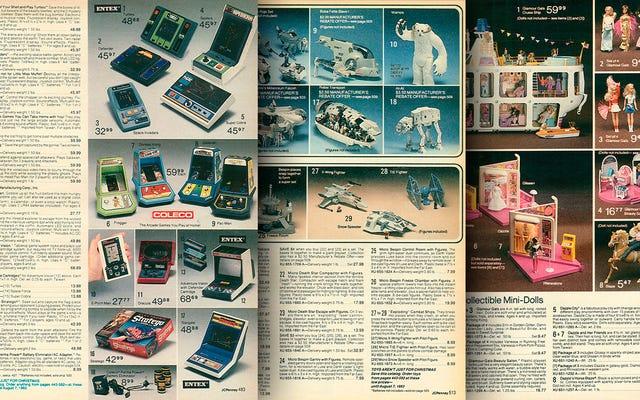 यह 1982 जेसीपीएनई कैटलॉग 80 के खिलौने और इलेक्ट्रॉनिक्स का एक जैकपॉट है