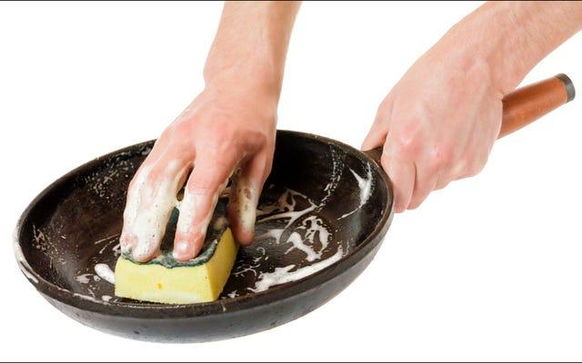 本当に、鋳鉄製のフライパンを石鹸で洗っても大丈夫です