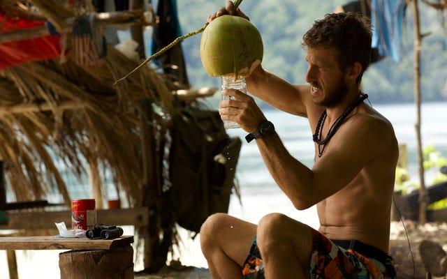 キャスタウェイズシーズンのフィナーレのために、ゆっくりと水はけのココナッツにグラスを上げます