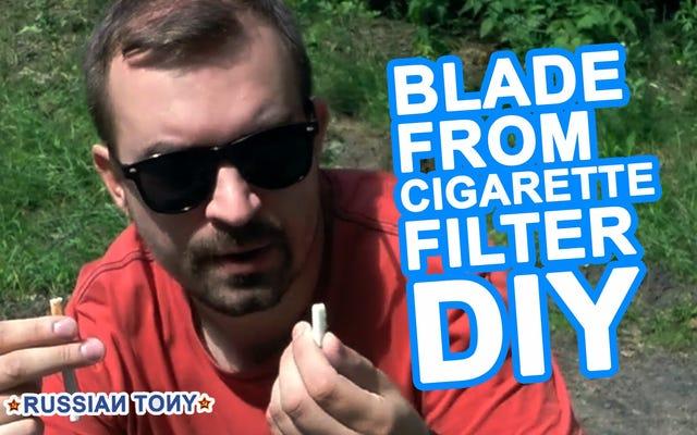 छोड़े गए सिगरेट फिल्टर से एक ब्लेड बनाएं