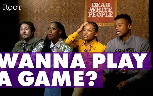 親愛なる白人様のキャストメンバーがジェシーウィリアムズの「Blebrity」のイライラするゲームをプレイ
