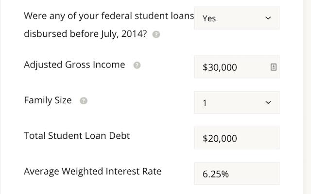 Máy tính này ước tính khoản hoàn trả khoản vay sinh viên dựa trên thu nhập của bạn
