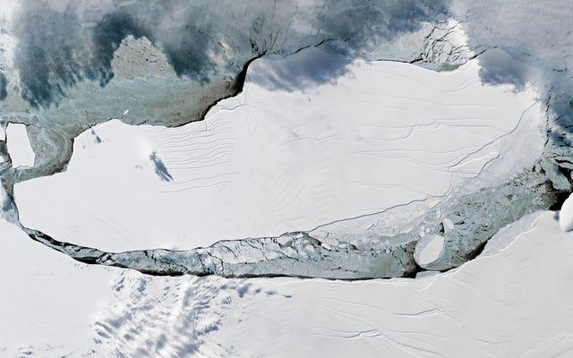 Le nuove immagini illuminate dal sole dell'enorme iceberg dell'Antartide sono di una bellezza mozzafiato