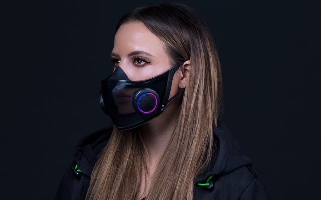 RazerのプロジェクトヘーゼルはRGB照明付きの半透明のフェイスマスクです
