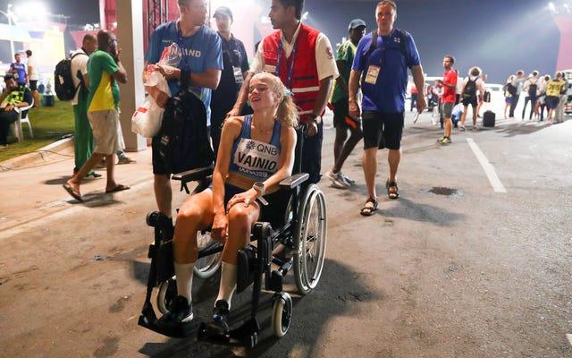 競争相手の40%以上が、カタールの猛暑の中を走る世界選手権マラソンから撤退します