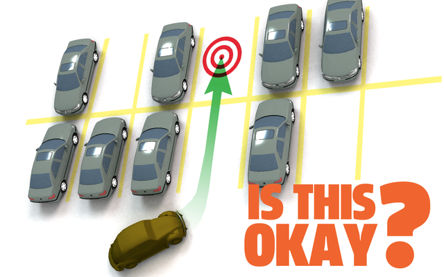 ¿Está bien pasar de un lugar de estacionamiento a otro vacío?