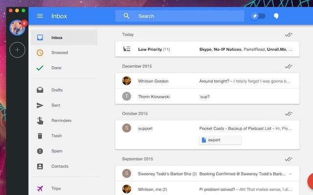 WmailはGmailによる受信トレイ用の無料のOSXデスクトップアプリです