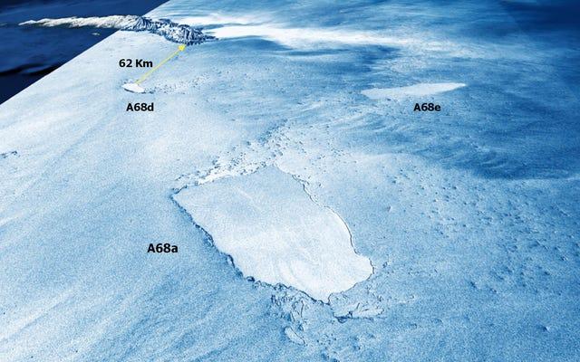 印象的な3D衛星画像は、依然として敏感な島を脅かしている砕けた氷山A68aを示しています