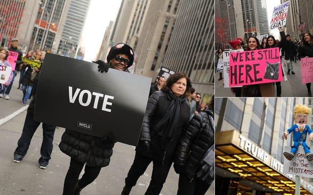 ブルーウェーブはニューヨークの女性のマーチで電流を通されます