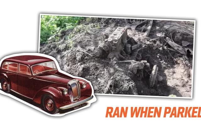 家族は彼らの庭に埋められた古いダイムラー車の残骸を見つけます