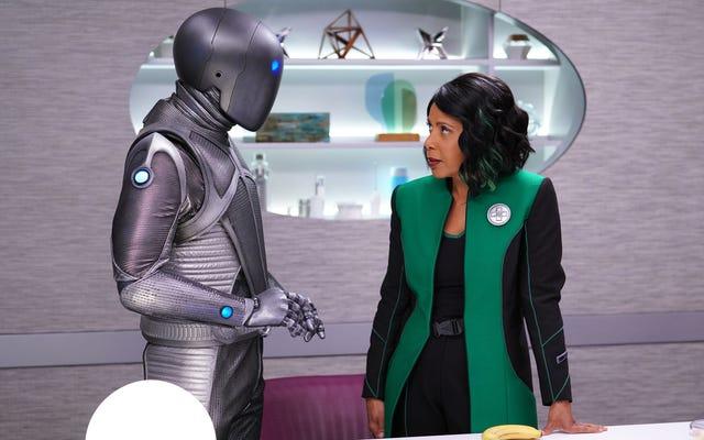 宇宙教皇に逆らって、クレア博士はオービルでロボットとデートします