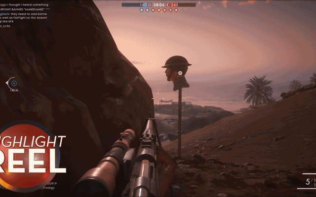 O atirador do campo de batalha 1 falsifica perfeitamente o inimigo