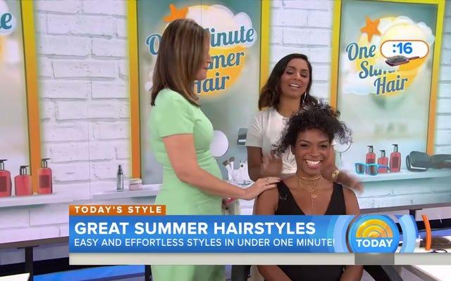 今日のショーを見て、この黒いモデルの髪を痛々しいほど台無しにしてください