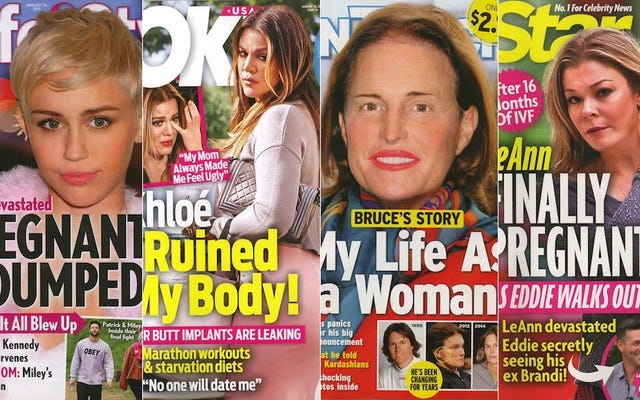 今週のタブロイド紙:ブルース・ジェンナーが輪郭を描かれた女性にフォトショップ