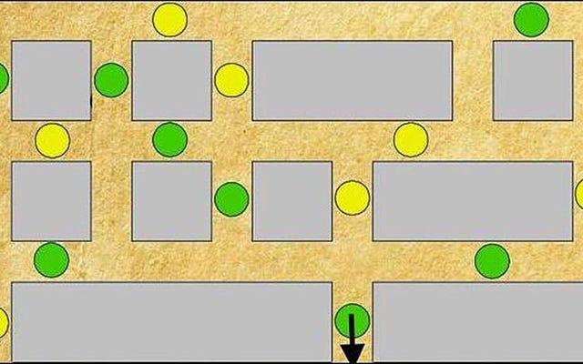 इस भूलभुलैया का एक सरल नियम है: एक ही रंग को दो बार एक पंक्ति में दोहराएं नहीं