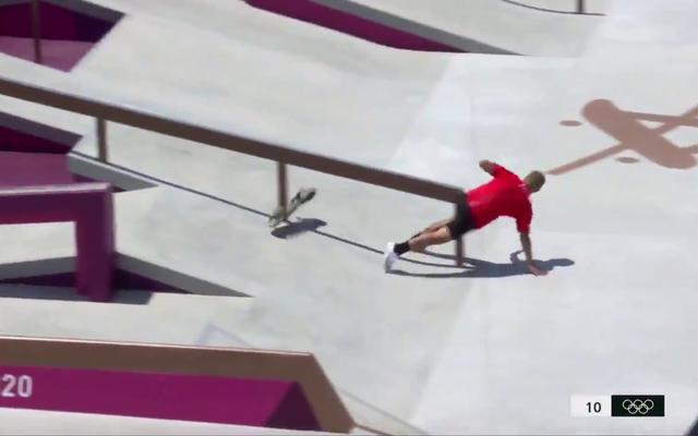 ご覧ください:オリンピックのスケートボーダーが最初にレールにぶつかります