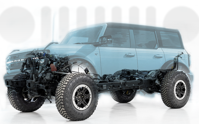 Niezwykle szczegółowy wygląd inżynierii Forda Bronco zaprojektowanej z myślą o jeepie