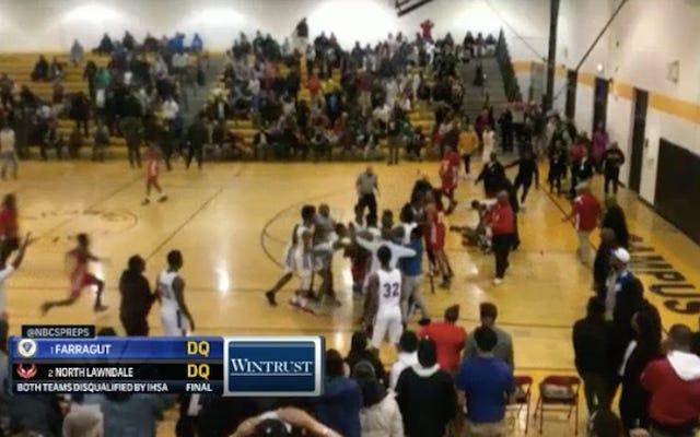 高校バスケットボールの乱闘は、州のプレーオフから両方のチームを失格にします