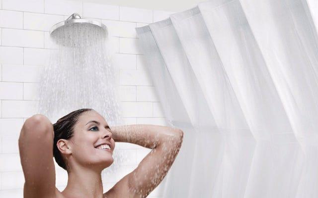 自己拡張型カーテンがシャワーを広々とした高級スパのように感じさせます