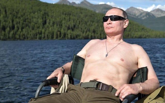 魚の征服者、ウラジーミル・プーチン、この岩の固い塊をたくさん手に入れよう