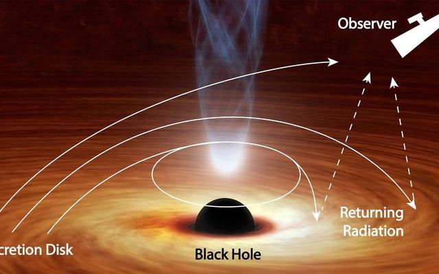 このブラックホールはそれ自体に向かって光を曲げています
