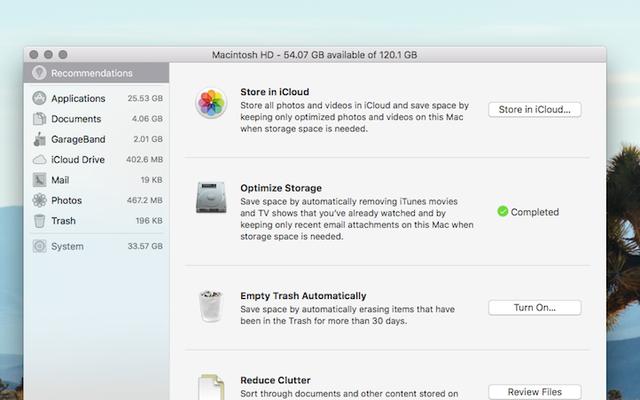 Dọn dẹp ổ cứng lộn xộn của bạn với Trình quản lý lưu trữ mới của macOS Sierra