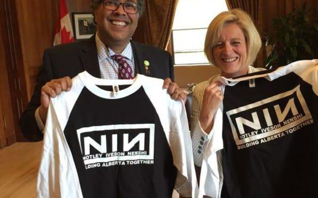 ヒップなカナダの政治家はナインインチネイルズのロゴを借りています
