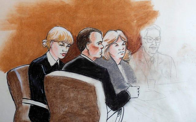 คุณคิดว่า Taylor Swift ดูเหมือนใครในสเก็ตช์ห้องพิจารณาคดีนี้?