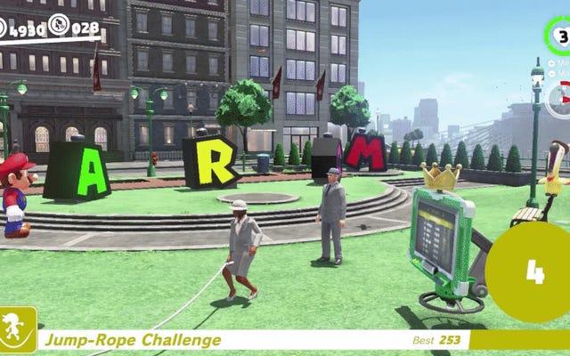 スーパーマリオオデッセイのプレイヤーは、グリッチを使用して縄跳びチャレンジリーダーボードを破ります