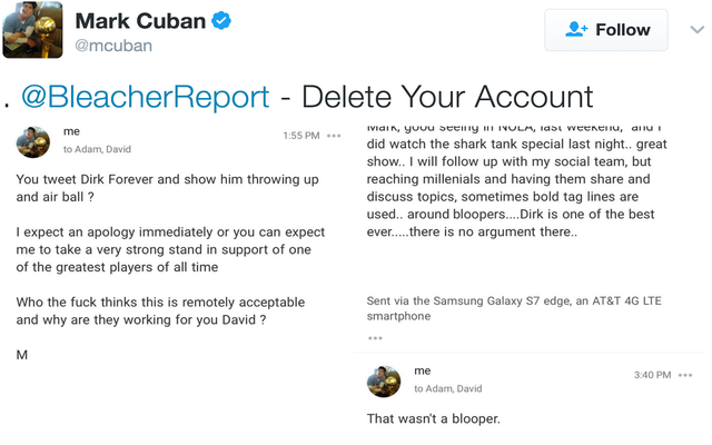 ブリーチャーレポートは、マークキューバンがターナーの社長に不平を言った後、ダークノビツキーのツイートを削除します
