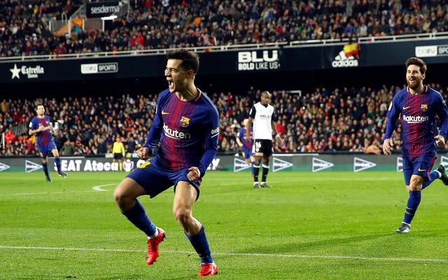 リバプールのファンはフィリペ・コウチーニョの最初のバルセロナゴールを絶対に気に入るはずです