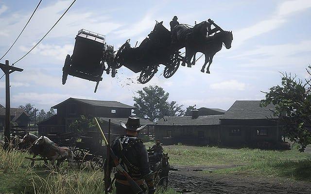 レッド・デッド・オンラインは、バストされた馬が飛んでいて、ワニが雨が降っています