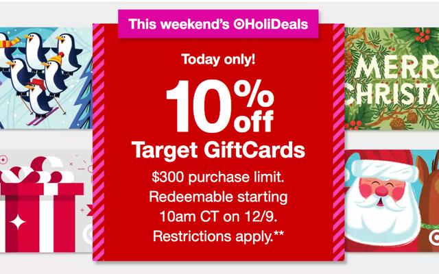 C'est le jour! Obtenez 10% de rabais sur les cartes-cadeaux Target, pour un jour seulement