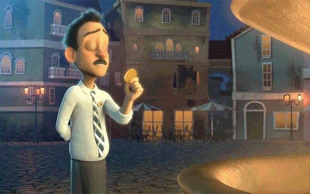 短いアニメーションは、コインを噴水に投げて願い事をした後に何が起こるかを想像します