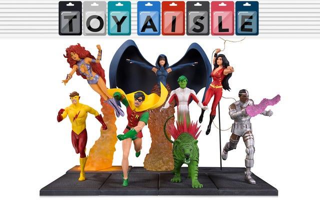 机の上に象徴的なティーンタイタンズのコミックブックカバーを再現し、今週の最高のおもちゃの詳細