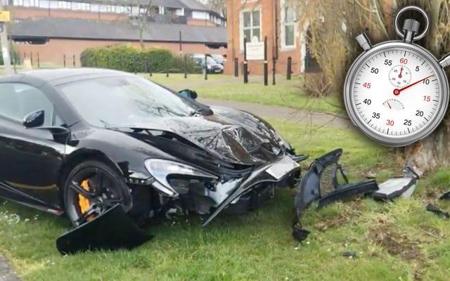 गाय मैकलारेन 650S को खरीदने के दस मिनट बाद एक पेड़ में दुर्घटनाग्रस्त हो गई