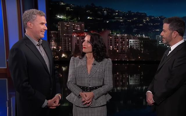 Julia Louis-Dreyfus e Will Ferrell interrompono il monologo di Kimmel per far debuttare il trailer di Downhill