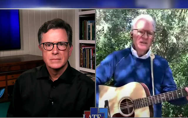 """Stephen Colbert po prostu nie pozwoli Steve Martinowi na zadanie nam kolejnego """"Imagine"""""""