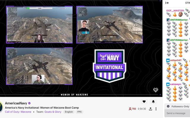 Le flux Twitch 'Women Of Warzone' de la marine est spammé avec des émoticônes à la bombe