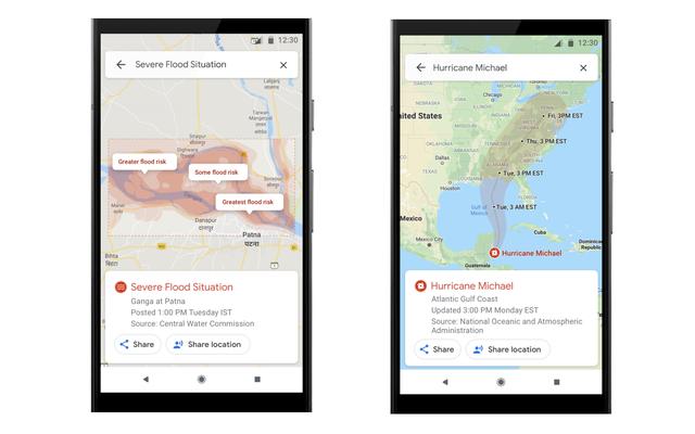Googleマップがお住まいの地域の自然災害について警告するようになりました