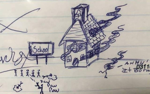 小学生の宿題に攻撃シーンを描いた後、フロリダマンが起訴される
