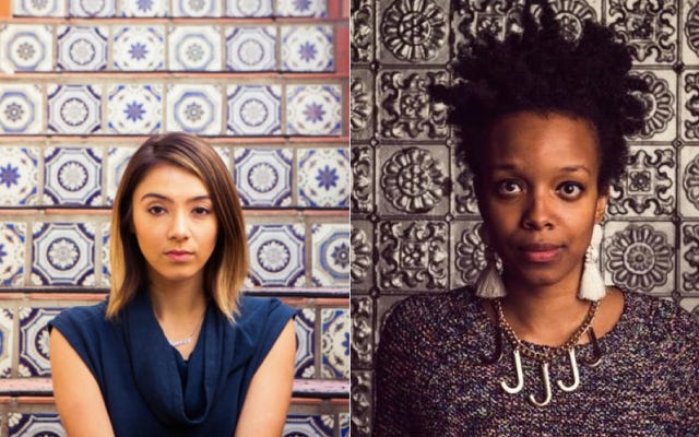 マックルモアーの「ホワイトプリビレッジII」の背後にいる色の女性、ホリスウォンウェアとジェイミーラウッズに会いましょう