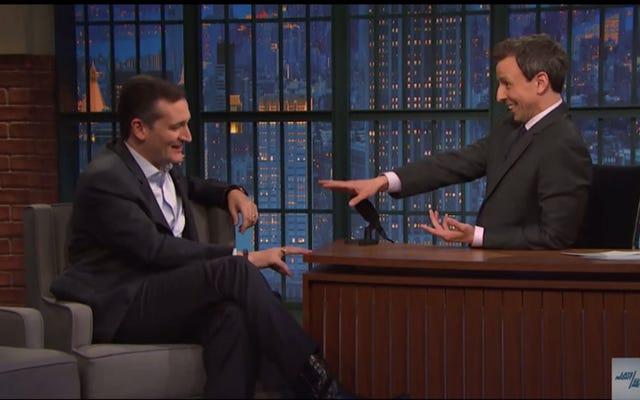 Seth Meyers se moque de Ted Cruz sur son visage, n'a jamais été aussi cool